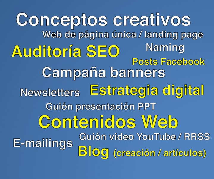 Javier Debarnot Copy creativo SEO servicios creatividad naming web auditoria newsletters banners guion youtube rrss