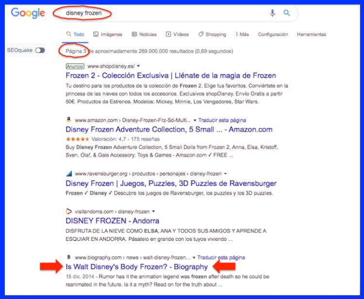 Javier Debarnot copy creativo SEO Disney Frozen resultados SERP páginas Google