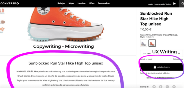 Copy creativo blog seo Javier Debarnot creatividad contenidos del copy creativo al ux writing website ejemplo experiencia usuario